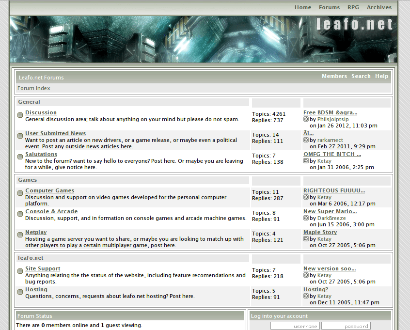 A screenshot of leafo.net from 2005